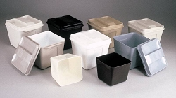VALUE LINE: Hotel Guest Room 3 Qt SQUARE Ice Buckets, Durable Plastic, WHITE with Handle -6.5 x 5.5